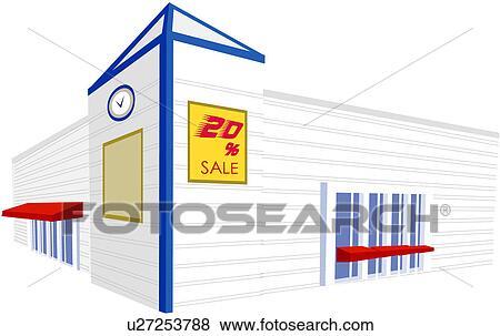 Supermarkt gebäude clipart  Clip Art - kommerzielles gebäude, laden, markt, kaufmannsladen ...