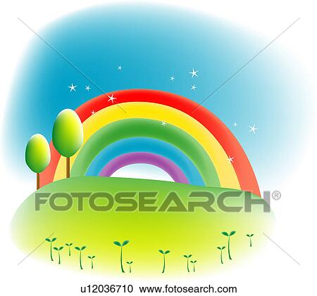 Clipart of spring, landscape, sky, hill, field, weather ...