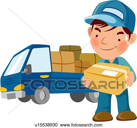 Clipart - truck package delivery man full age door-to-