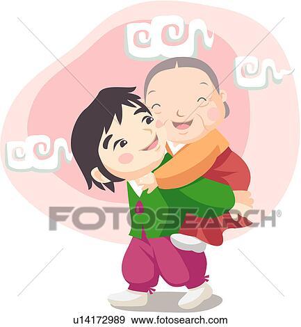 Clip Art of piggyback ride, family, smiling, mother ...