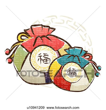 Clip Art of icon, korean new year, tradition, luck, lucky bag, new ...