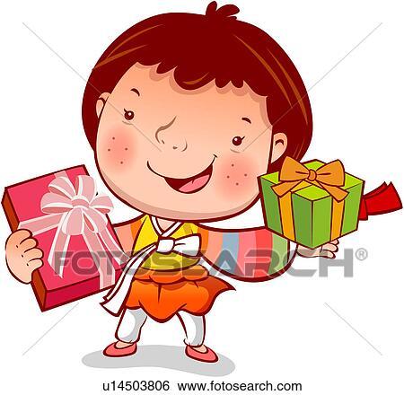 Clip Art of present, winter, gift, custom, korean dress, season ...