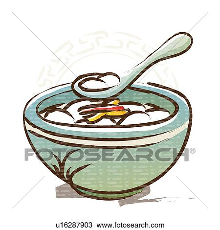 Clipart of bowl, new year`s day, spoon, traditional food ...