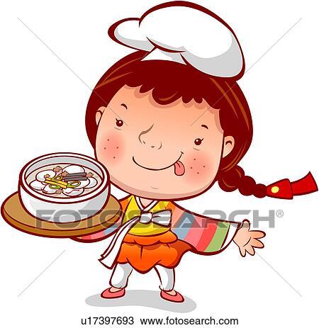 Clipart of tray, winter, chef`s hat, custom, korean dress, season ...