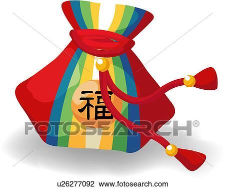 Clip Art of korean new year, folk tool, bokjori, lucky bag, new ...