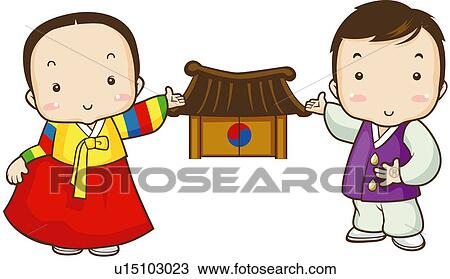 Clipart of child, festival, women, men, two people u15103023 ...