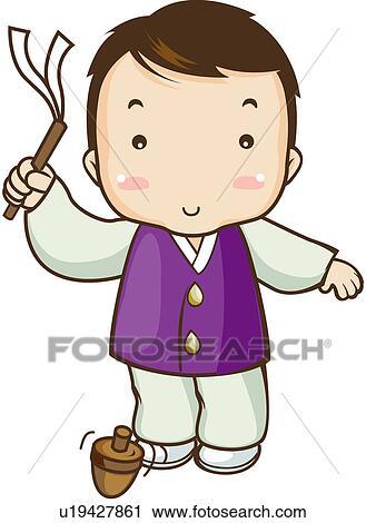 Clipart of fete, korean dress, new year, beginning, national ...