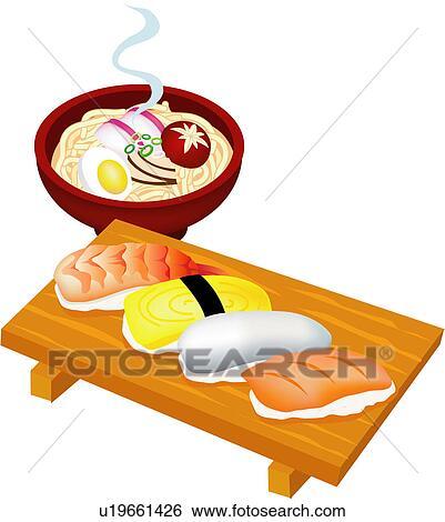 clip art of cuisine, japan, rice, egg, fish, japanese food, food