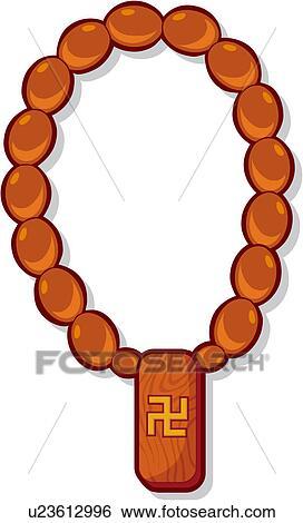 Clip Art of spiritual path, rosary, zen, belief, wooden, prayer ...
