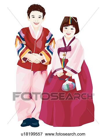 clip art traditional korean clothes new year chinese new year new years - Chinese New Year 1995