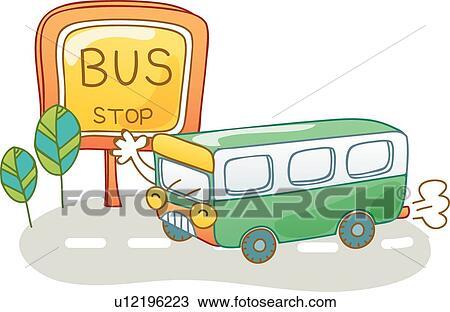 贴画 邮寄, 图标, 道路, 学校公共汽车, 公共汽车站, 陆地运输,高清图片