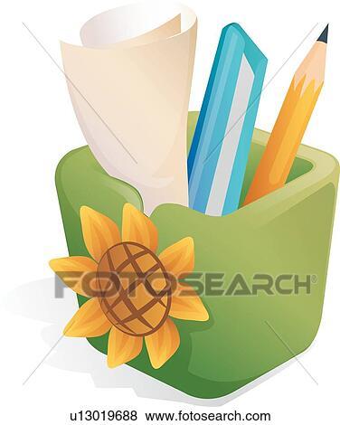 剪贴画 向日葵, 图标, 铅笔杯, 刀, 刀, 向日葵, 图标 u