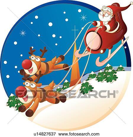 Clip Art of Christmas, santa, Rudolph, Sleigh, Santa Claus ...