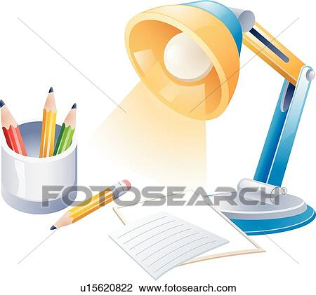 Clipart of stationery, icons, desk lamp, pencil cup, Business ...