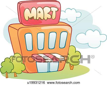Supermarkt gebäude clipart  Clip Art - supermarkt, heiligenbilder, wolke, wolkenlandschaft ...