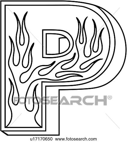 Clipart of , alphabet, capital, flaming block, hand lettered ...