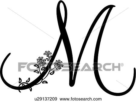 Clip Art of , monogram, alphabet, capital, lettered, m, script ...