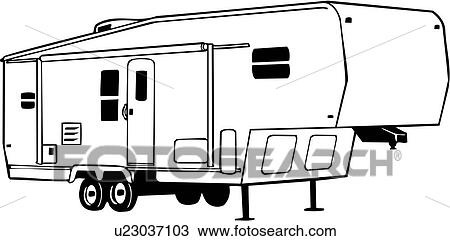 Clipart Of Camper Fifth Recreation Recreational Rv Vehicle