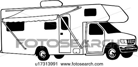 clipart of camper mini motorhome recreation recreational rv rh fotosearch com free rv clipart tv images clipart