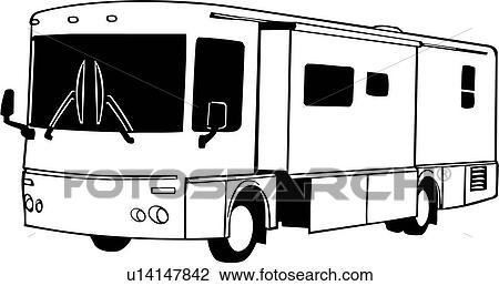 Clipart of , camper, diesel, pusher, recreation, recreational, rv ...