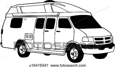 Clip Art of , camper, conversion, recreation, recreational, rv ...