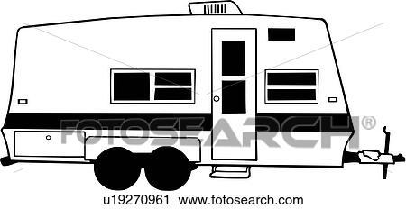 Clipart of , camper, recreation, recreational, rv, trailer ...