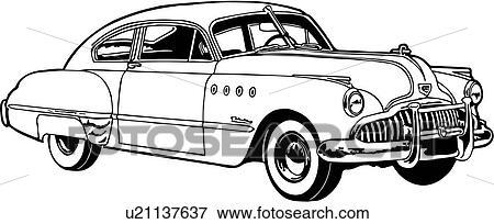 Clip Art Of Automobile Buick Car Classic Classic Car