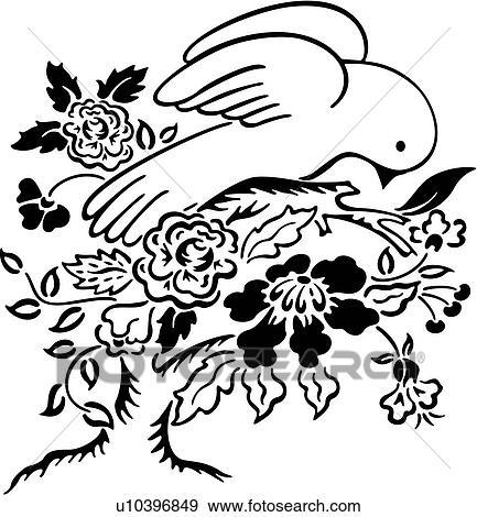 Clip art of bird dove floral ornaments peace simple clip art bird dove floral ornaments peace simple voltagebd Choice Image