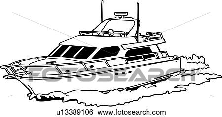 Clip Art of , boat, cruiser, power, power boat, shore, speed ...