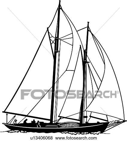 Clipart bateau voilier voile go lette sport oc an ship u13406068 recherchez des - Dessin de voilier ...