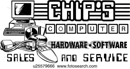 Clip Art of , business signs, computer, lettering, prefabricated ...