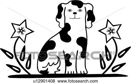 Clip Art of , amish, border, canine, dog, dutch, folk art, holland ...