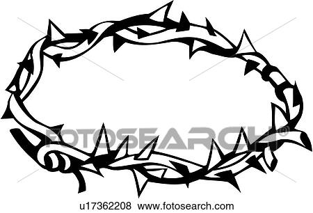 clip art of christian christianity crown crucifixion easter rh fotosearch com jesus in a crown of thorns clipart crown of thorns clipart black and white