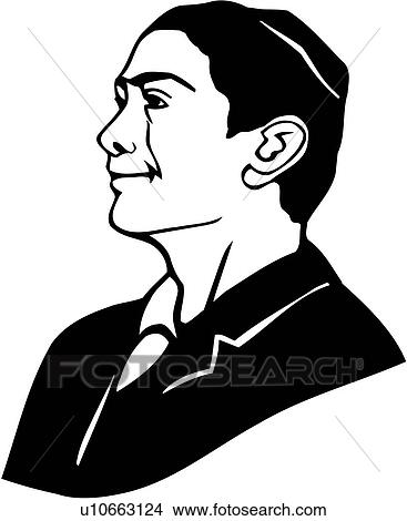 Clipart of , face, head, israeli, jew, jewish, man, people, suit ...