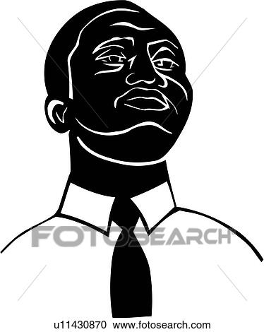 Clipart of , african, american, black, man, face, head, poses ...