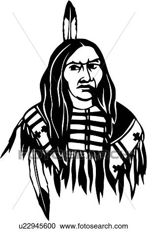 Clipart Of American Face Head Indian Man Native