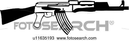Clipart of , ak 47, gun, military, rifle, weapon, u11635193 ...