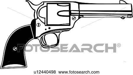 Western Pistols Drawing Clip Art Colt 45 Gun
