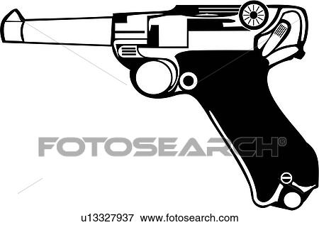 Clip Art of , gun, pistol, luger, weapon, u13327937 - Search ...