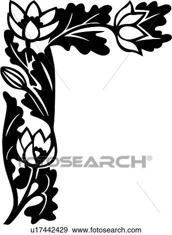clip art of border corner floral lily u17442429 search rh fotosearch com corner clipart png corner clip art free download
