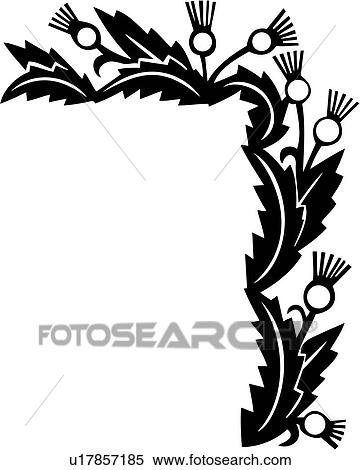 Clipart of , border, corner, floral, thistle, u17857185 - Search ...