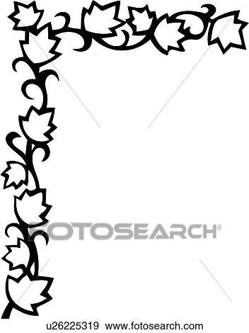 Clipart of , border, corner, floral, leaves, scroll, vine ...