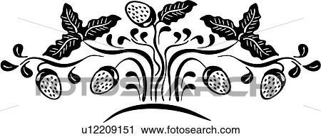 Clipart of , amish, berries, border, dutch, folk art, holland ...