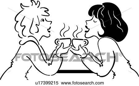 Clipart of , coffee, drink, female, friend, java, ladies ...