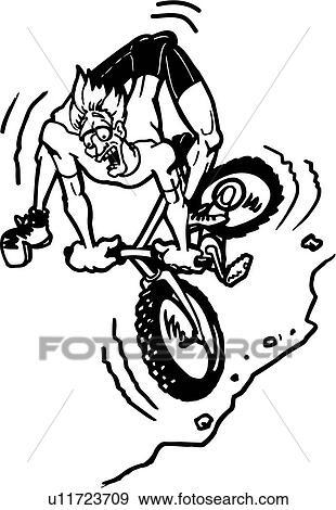 Action Bike Biker Cartoon Mountain Sport Wacky Extreme