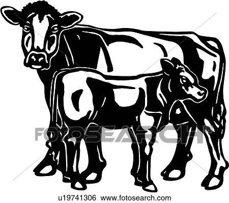 Clip Art of , animal, brown, bull, calf, cattle, cow, farm ...