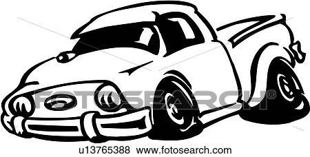 Clip Art of , auto, automobile, bumper, pickup, truck, cartoon ...