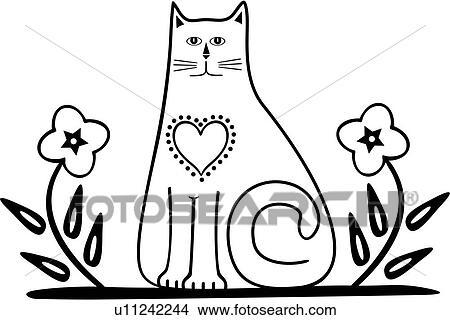 Clipart of , holland, amish, border, cat, dutch, feline, folk art ...