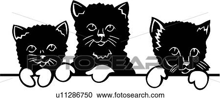 Clipart of , pussycat, animal, cat, feline, kitten, three ...