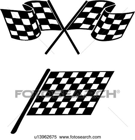 Clipart of , auto racing graphic, checker, checkered flag, flame ...